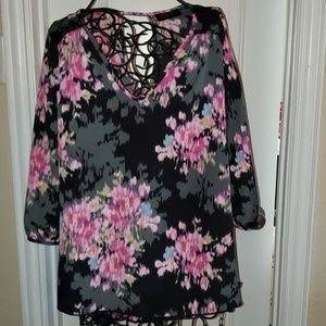 Black top with pink flowers